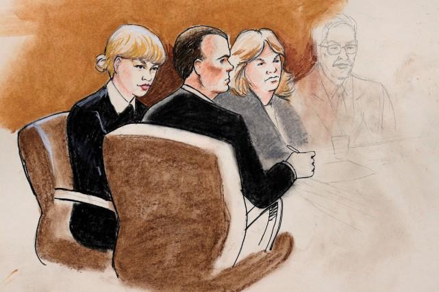 Un croquis de cour représentant Taylor Swift, accompagnée... (PHOTO REUTERS)