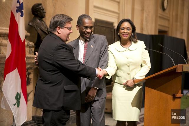 Antonio Rodrigue, ministre haïtien des Affaires étrangères, et... (La Presse, François Roy)