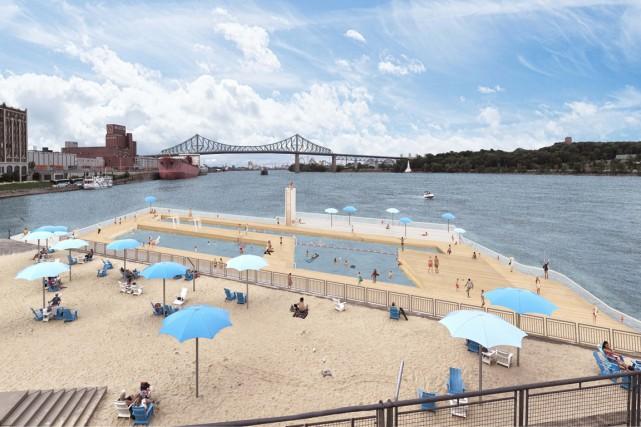 Le bain portuaire proposé au pied du Quai... (Image fournie par Projet Montréal)