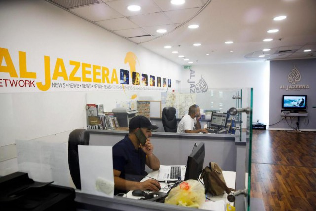 Les bureaux d'Al Jazeera à Jérusalem... (PHOTO MAHMOUD ILLEAN, ASSOCIATED PRESS)