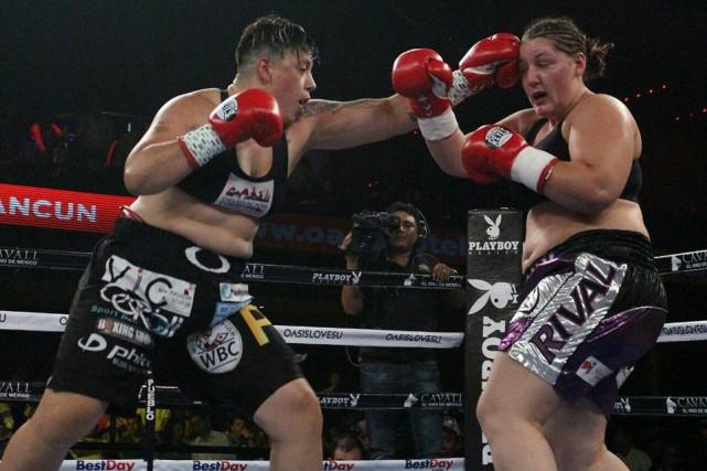 La boxeuse Vanessa Lepage-Joanisse, de la Petite-Nation, encaisse... (Courtoisie PromocionesDelPueblo)