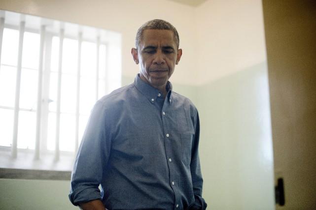 Barack Obama a visité la cellule où a... (ARCHIVES AFP)