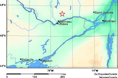La terre a tremblé en Outaouais lundi alors qu'une secousse sismique de... (Courtoisie, SéïsmesCanada)