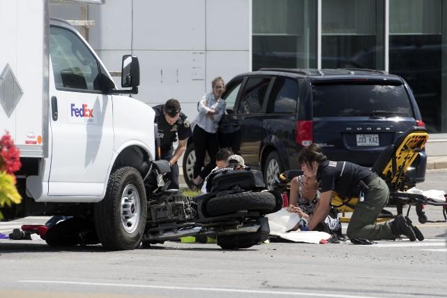 L'accident a fait un blessé, mais sa vie... (Photo:Stéphane Lessard)