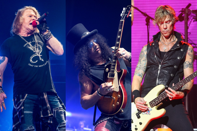 Axl Rose, Slash et Duff McKagan... (Photos AFP et AP)