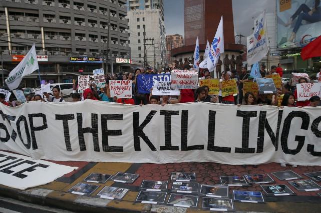 À Quezon City, au nord de Manille, des... (AP, Bullit Marquez)