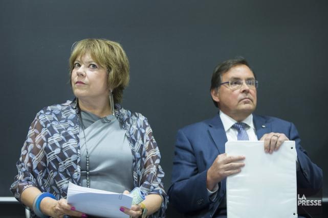 La ministre de l'Enseignement supérieur, Hélène David, et... (Photo Ivanoh Demers, La Presse)