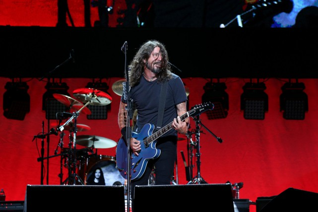 Dave Grohl des Foo Fighters lors d'un concert... (PHOTO AFP)