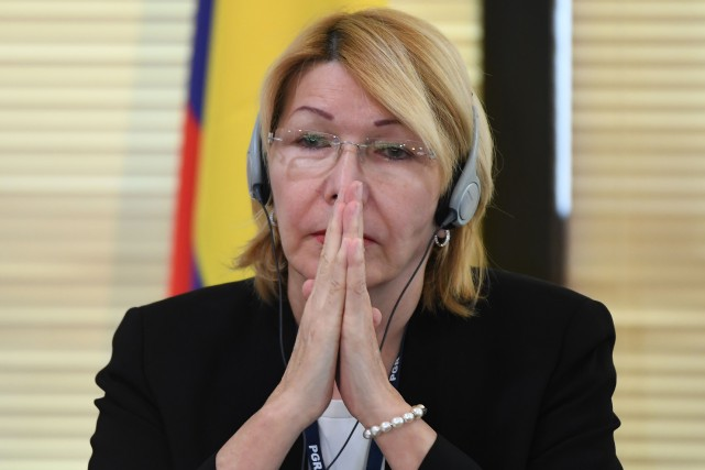 Luisa Ortega lors d'un point de presse à... (PHOTO AFP)