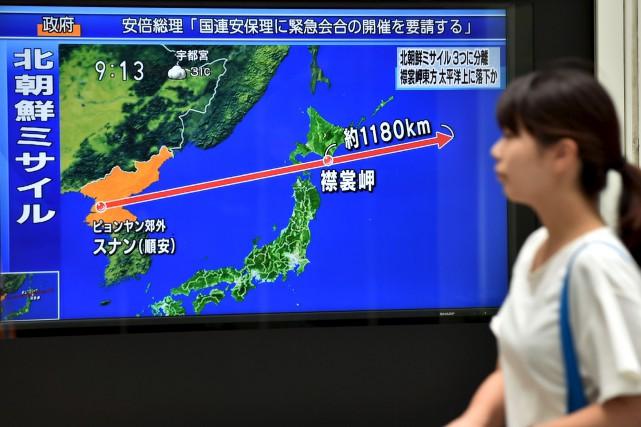 Un «projectile non identifié» a été tiré de... (AFP, Kazuhiro Nogi)
