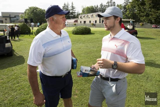 Claude Julien et Jonathan Drouin ont participé au... (Photo Robert Skinner, La Presse)
