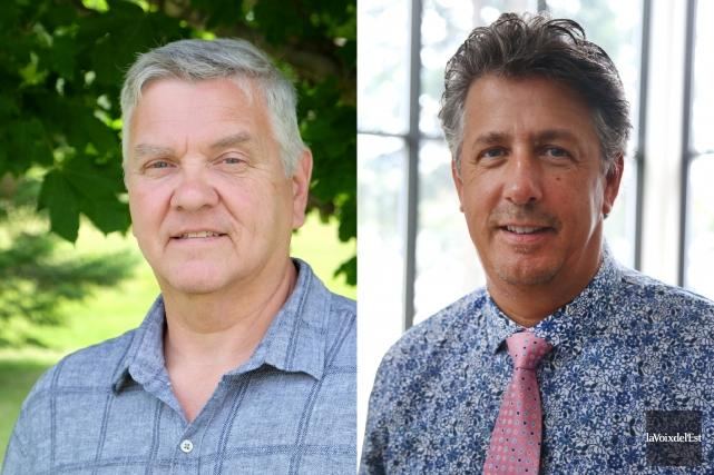 Les aspirants maires Jean-Marie Lachapelle (à gauche) et... (La Voix de l'Est)