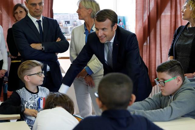 Le président Emmanuel Macron a profité de la... (PHOTO PHILIPPE WOJAZER, REUTERS)