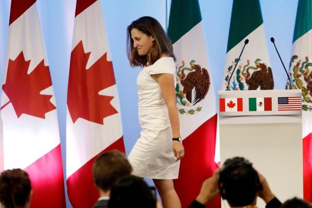 Lors de la conférence de clôture, la ministre... (PHOTO REUTERS)
