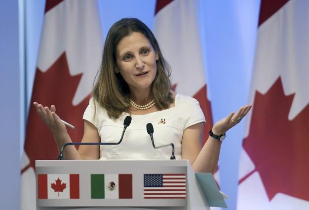 La ministre canadienne des Affaires étrangères, Chrystia Freeland,... (AFP, Pedro Pardo)