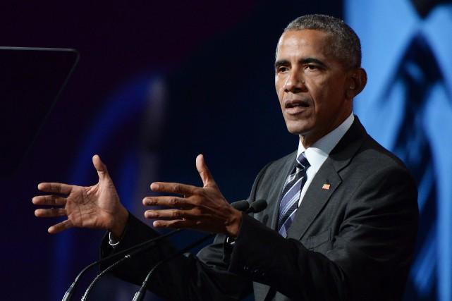 Barack Obama a prononcé un discours à Montréal... (Photo Paul Chiasson, PC)