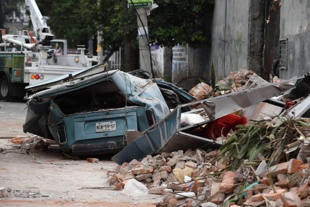 Une rue de Mexico après le séisme de... (PHOTO ALFREDO ESTRELLA, AFP)