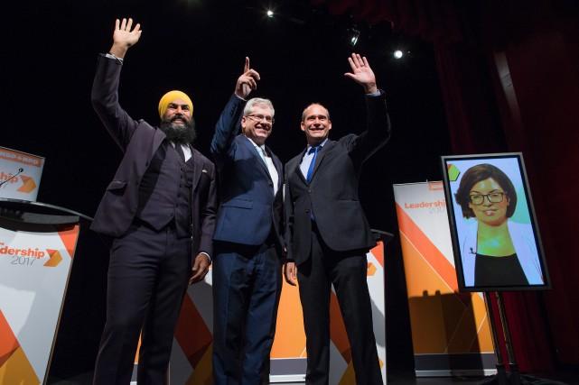 Jagmeet Singh, Charlie Angus et Guy Caron. Niki... (Photo La Presse canadienne)