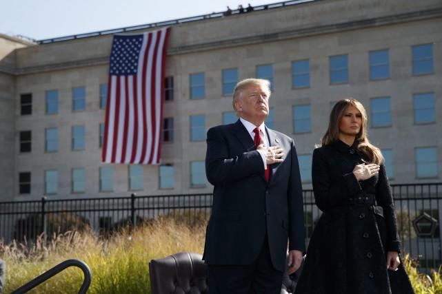 Donald et Melania Trump lors de lacérémonie du... (AP)