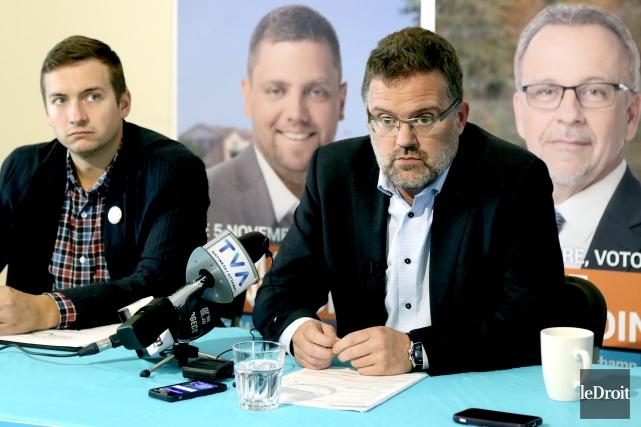 Le maire sortant Maxime Pedneaud-Jobin n'a pas tardé... (Patrick Woodbury, Le Droit)