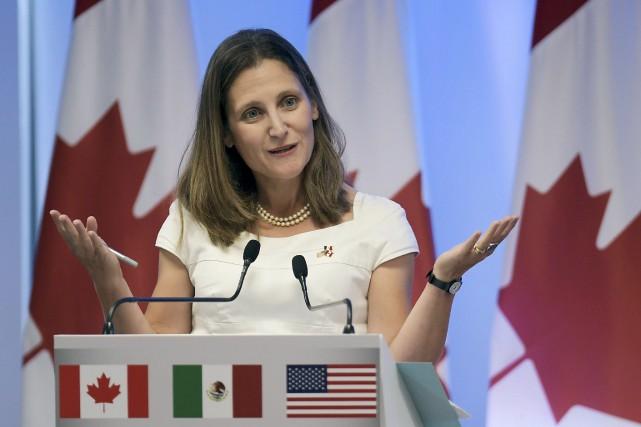La ministre des Affaires étrangères, Chrystia Freeland, s'est... (Agence France-Presse)