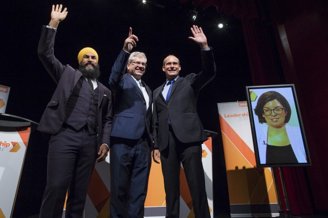 Les quatre candidats à la direction du NPD,... (La Presse canadienne, Darryl Dyck)