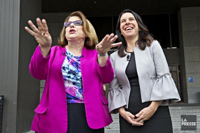 Anne-France Goldwater et Valérie Plante.... (Photo Patrick Sanfaçon, La Presse)