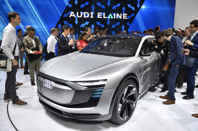 Le prototype Audi Elaine, actuellement exposé au Salon... (Photo : AP)
