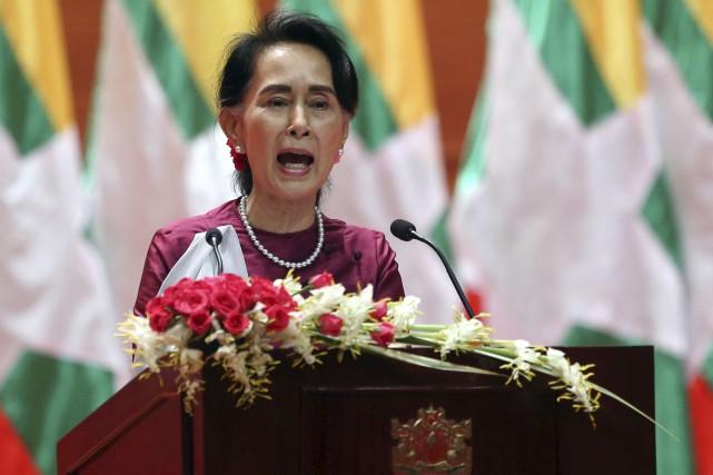La dirigeante birmane.... (AP, Aung Shine Oo)