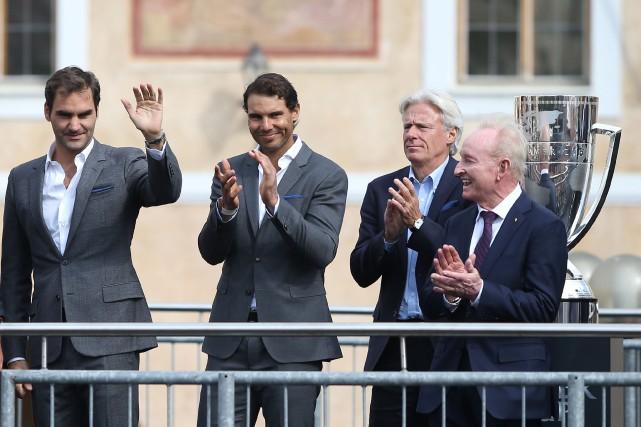 Roger Federer, Rafael Nadal, Bjorn Borg et Rod... (Photo Milan Kammermayer, Reuters)