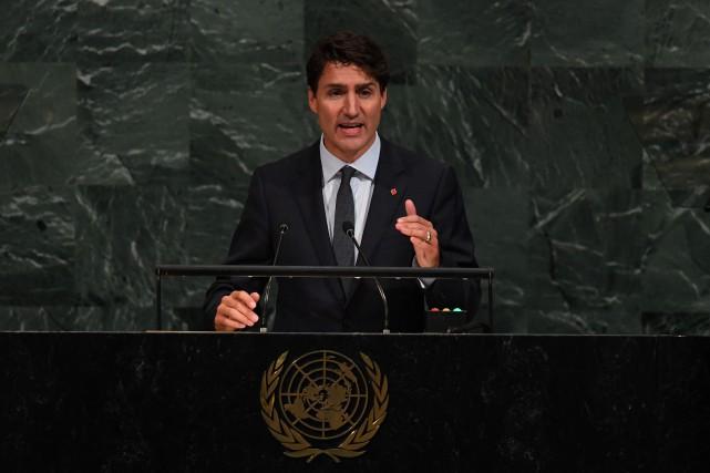 Justin Trudeau a prononcé un discours devant l'Assemblée... (Photo Timothy A. Clary, AFP)