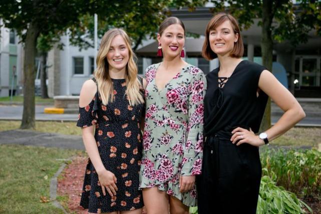 Les soeurs Justine, Chloé et Maxime Dufour-Lapointe participaient,... (Photo David Boily, La Presse)