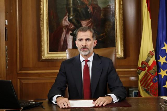 Le roi d'Espagne Felipe VI, dans son message... (AP)