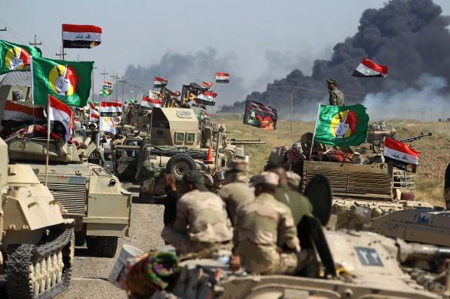 Les forces irakiennes étaient entrées mercredi dans la... (PHOTO AFP)