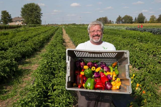 Michel Lachaume dans les champs de sa ferme... (Photo Robert Skinner, La Presse)