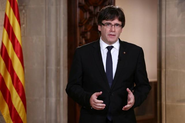 Mardi, Carles Puigdemont doit s'exprimer devant son Parlement... (ARCHIVES REUTERS)