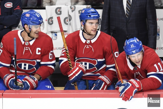 Max Pacioretty, Jonathan Drouin et Brendan Gallagher.... (PHOTO BERNARD BRAULT, LA PRESSE)