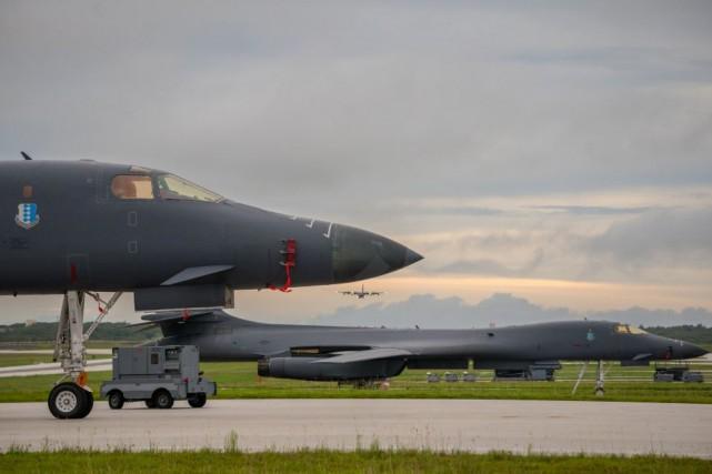 Les deux B-1B Lancers (photo) basés sur l'île... (REUTERS)
