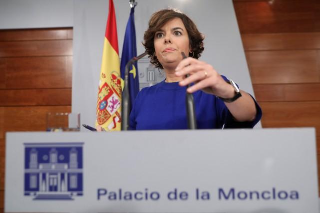 La vice-présidente du gouvernement conservateur, MmeSoraya Saenz de... (Photo Susana Vera, REUTERS)