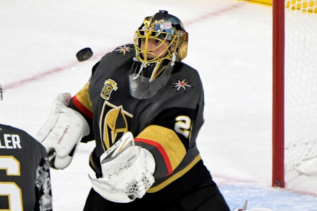 Marc-Andre Fleury a subi une commotion cérébrale.... (Photo Kirby Lee, USA Today Sports)