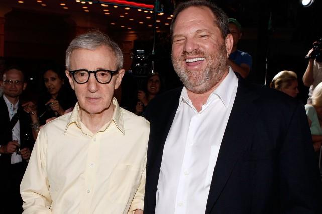 Woody Allen et Harvey Weinstein en 2008.... (PHOTO ARCHIVES AFP)