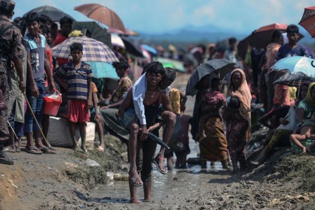 Un camp de réfugiés rohingyas.... (PHOTO MUNIR UZ ZAMAN, ARCHIVES AFP)