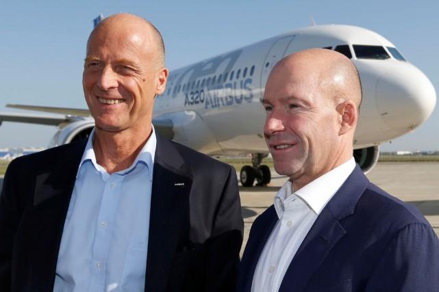 Les présidents d'Airbus, Thomas Enders, et de Bombardier,... (Photo Regis Duvignau, Reuters)