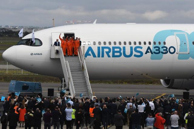 Pour le tout premier vol d'un Airbus A330neo,... (PHOTO PASCAL PAVANI, AFP)