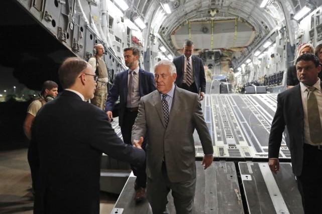 Le secrétaire d'État Rex Tillerson à son arrivée... (Photo Alex Brandon, AP)