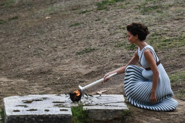 Katerina Lehou, l'actrice grecque jouant le rôle de... (Photo Aris Messinis, Agence France-Presse)
