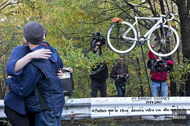 Le «vélo fantôme» installé était celui de Clément... (photo PATRICK SANFACON, LA PRESSE)