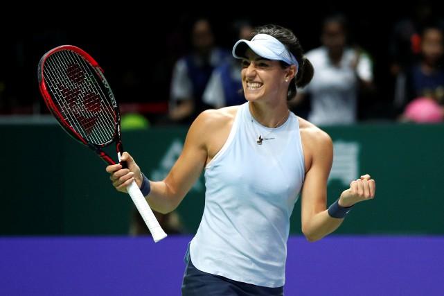 Caroline Garcia célèbre après avoir défait Caroline Wozniacki... (Photo Edgar Su, Reuters)