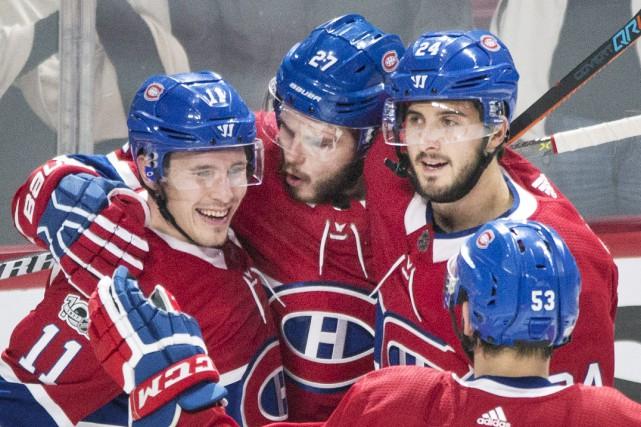 Alex Galchenyuk, Brendan Gallagher et Phillip Danault se... (Photo La Presse canadienne)