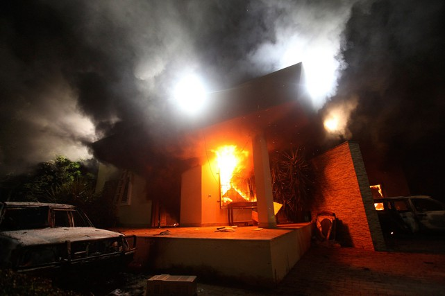 Le consulat des États-Unis à Benghazi, en Lybie,... (PHOTO ESAM AL-FETORI, ARCHIVES REUTERS)